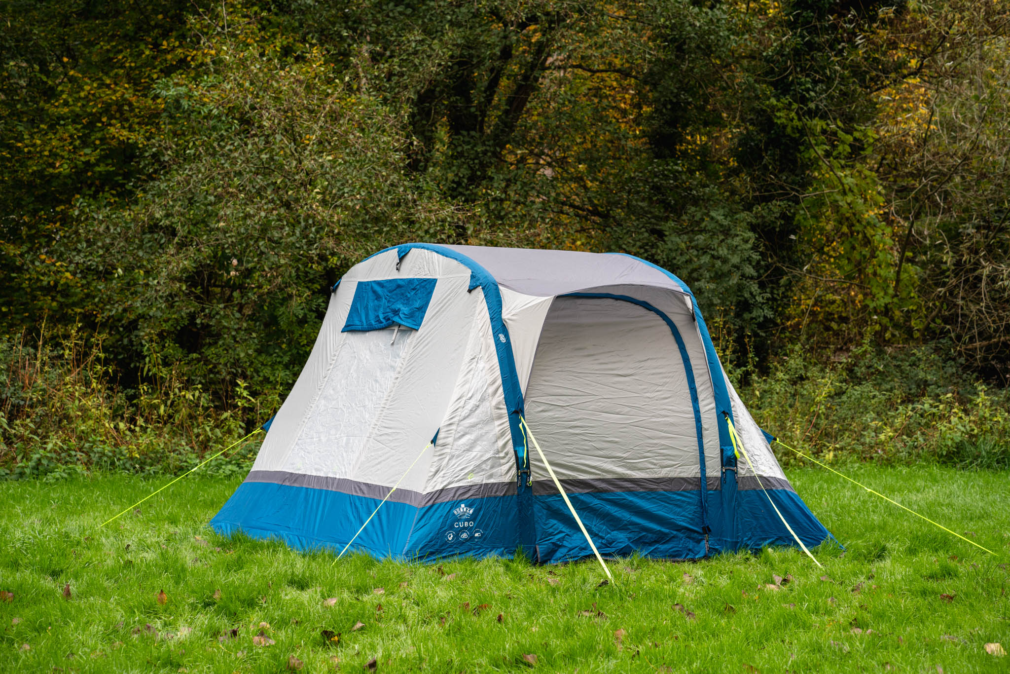 small blue and white tent