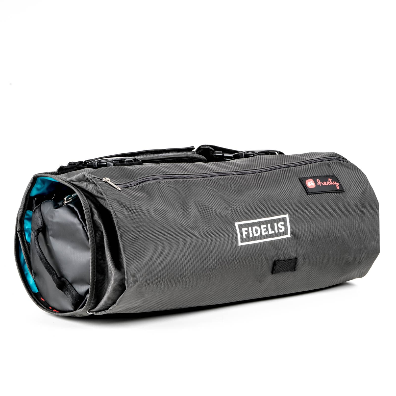 Product photography of a black rolled up bag