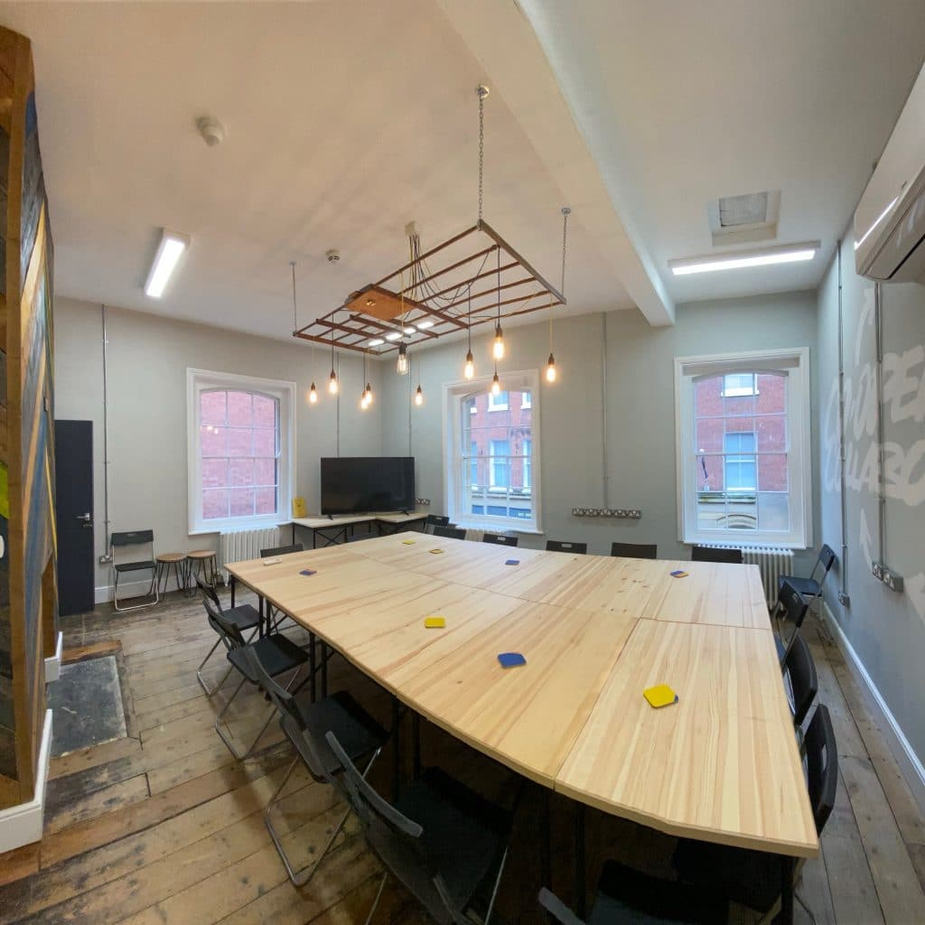 wide angle phone lens example of a large coworking table