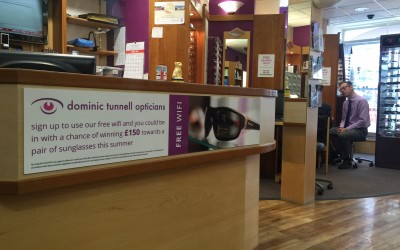 We've just installed a wireless access point for Dominic Tunnell Opticians!