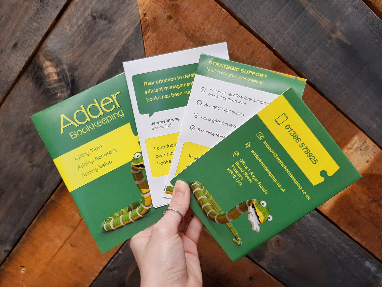 Adder Bookkeeping folded leaflets