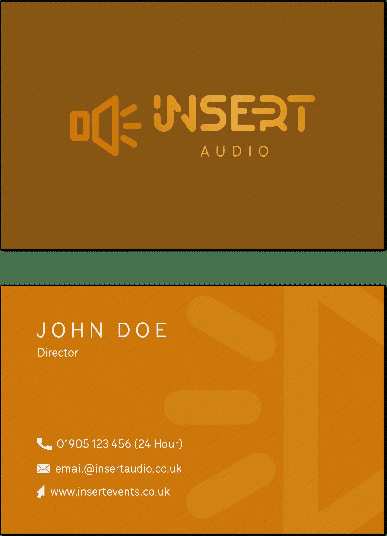 insert audio yellow business cards mockup