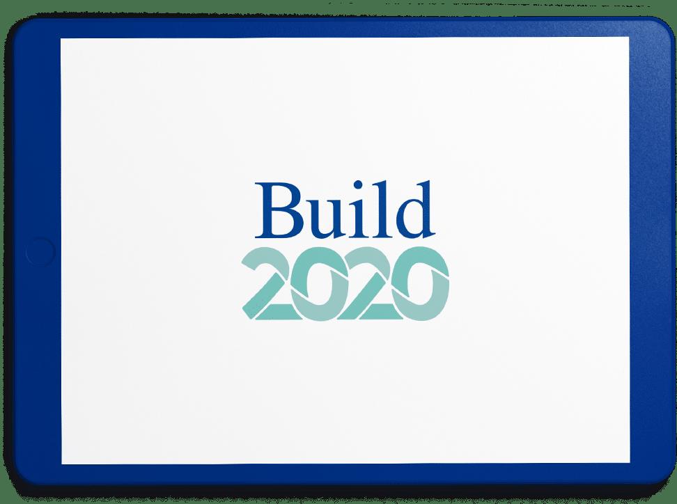 build 2020 logo on blue ipad
