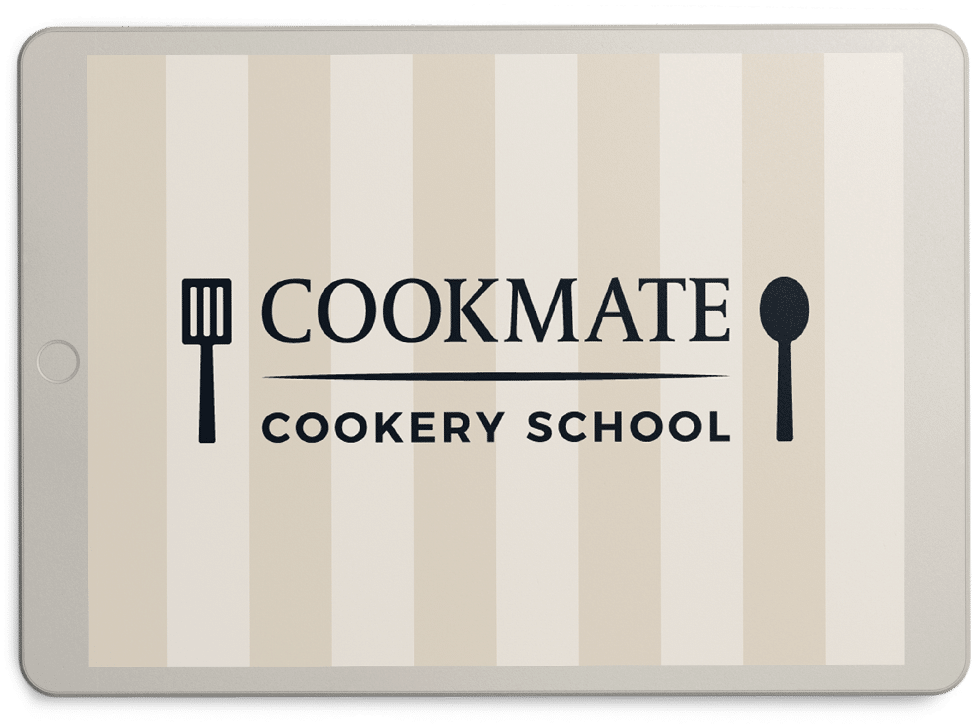 cookmate logo on nude colour ipad