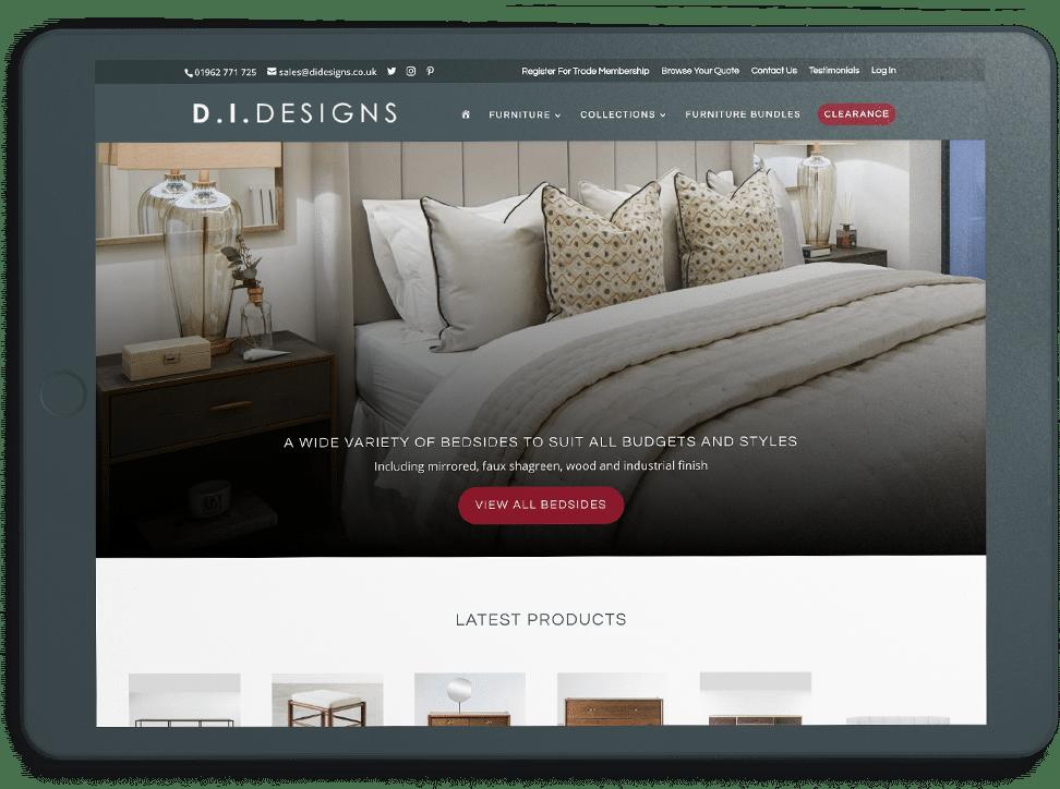 DI Designs homepage on ipad graphic