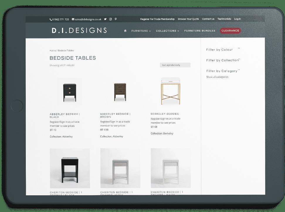 DI Designs furniture page on ipad