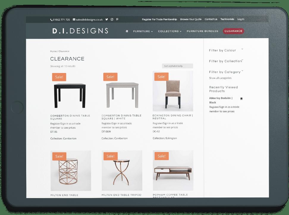 DI Designs sale page