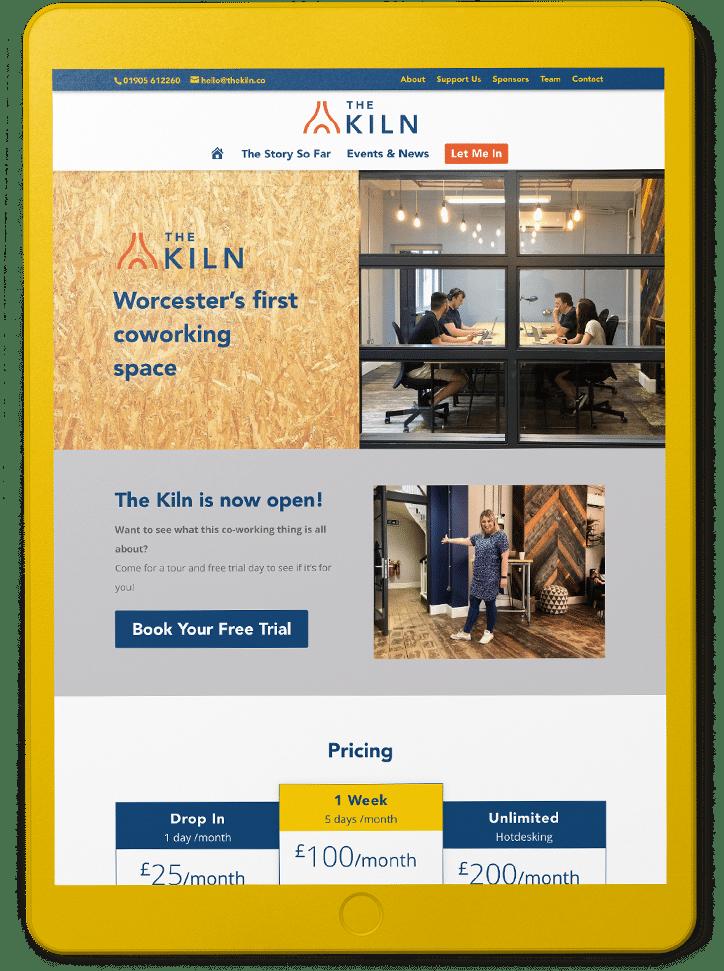 web design showing websites on tablets