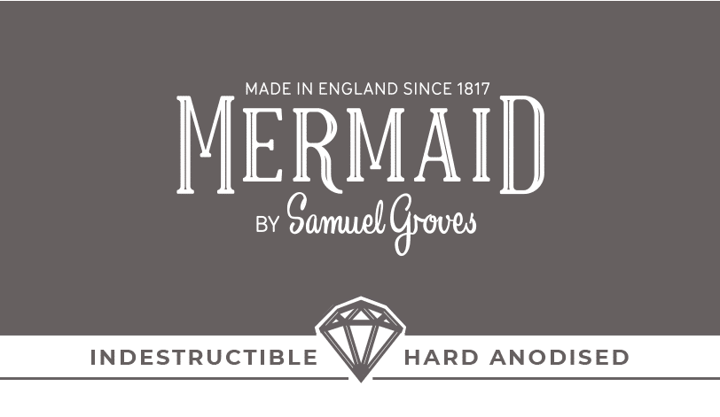 mermaid product packaging design silver hard anodised sub brand with diamond icon