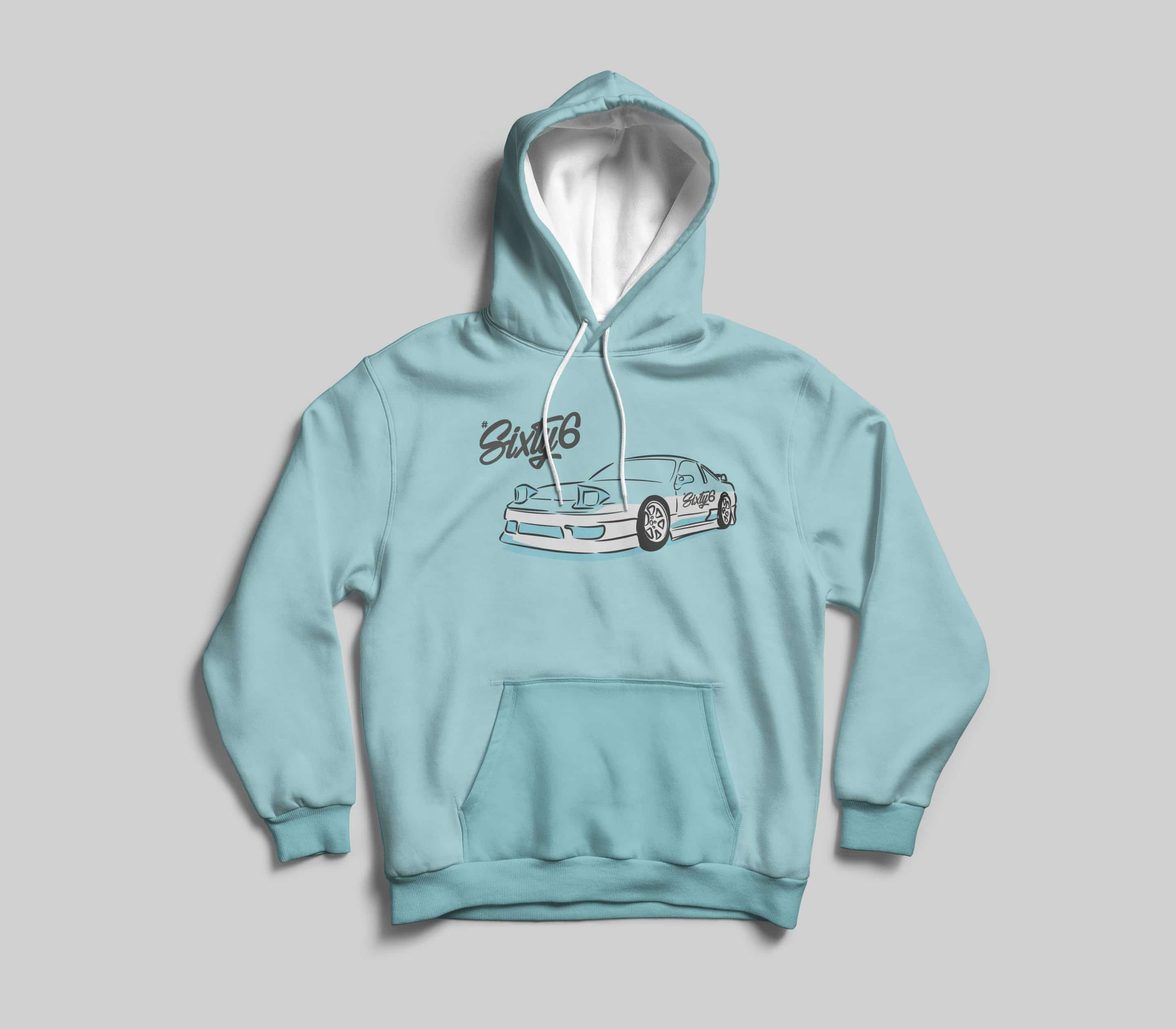 hashtag sixty six illustrated car graphic on light blue hoodie