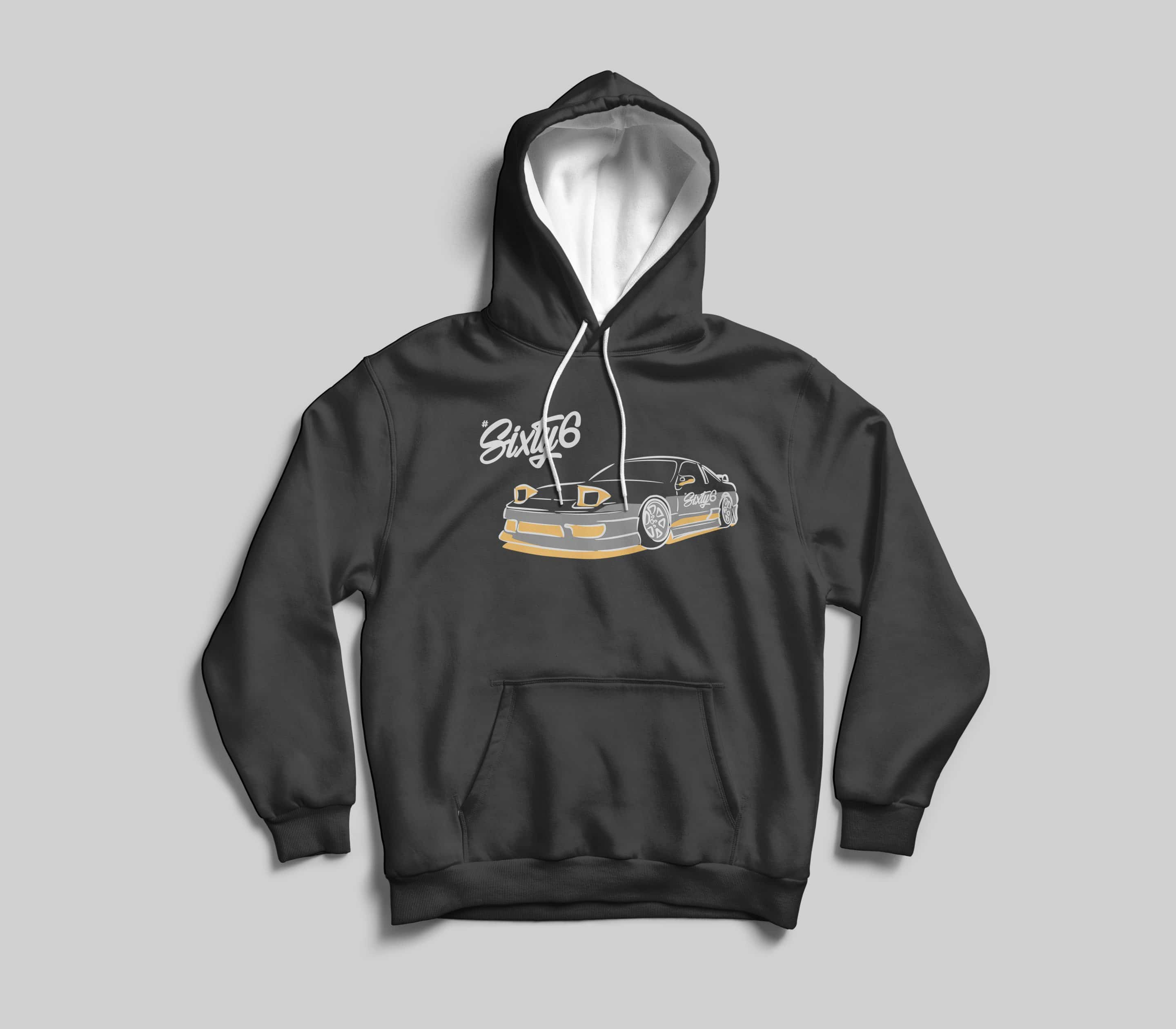 hashtag sixty six illustrated car graphic on black hoodie
