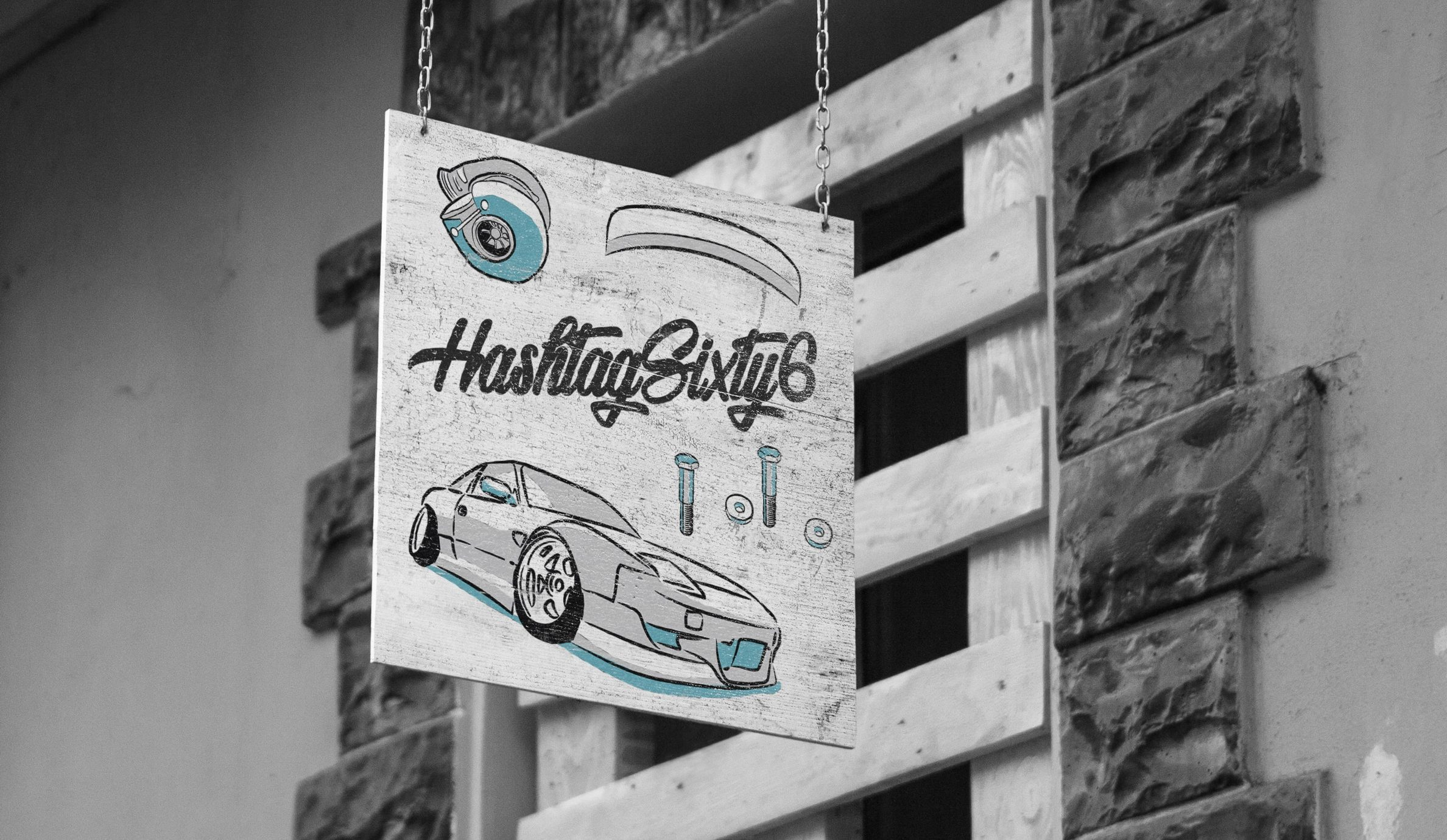 hashtag sixty six illustrated graphics on wooden hanging sign