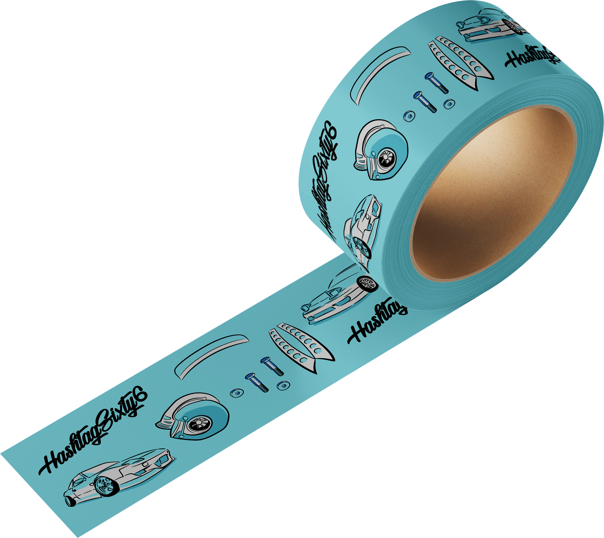hashtag sixty six brand graphics on light blue tape