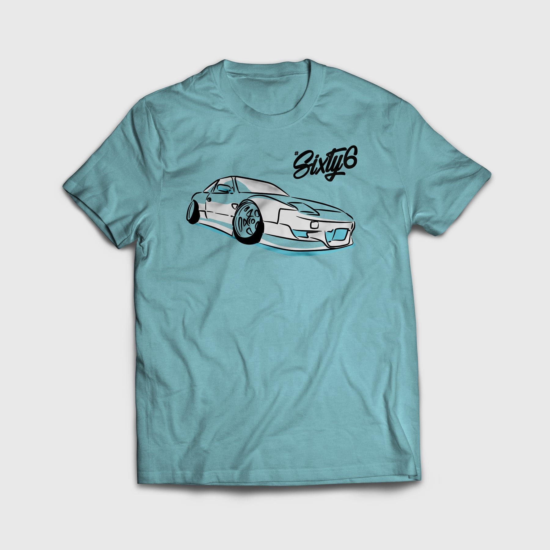 hashtag sixty six car graphic on blue tshirt