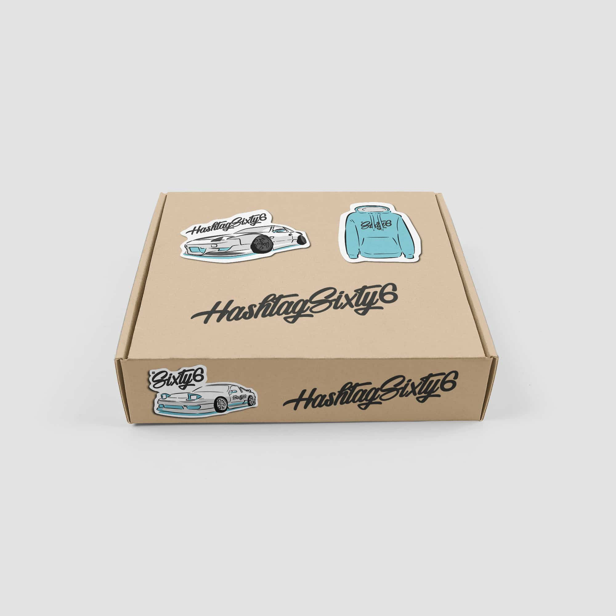 hashtag sixty six car and hoodie stickers on brown box