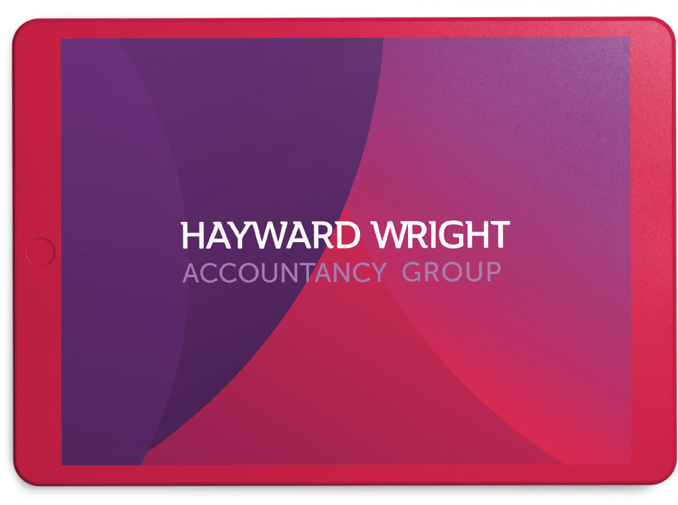 hayward wright logo on pinkish ipad