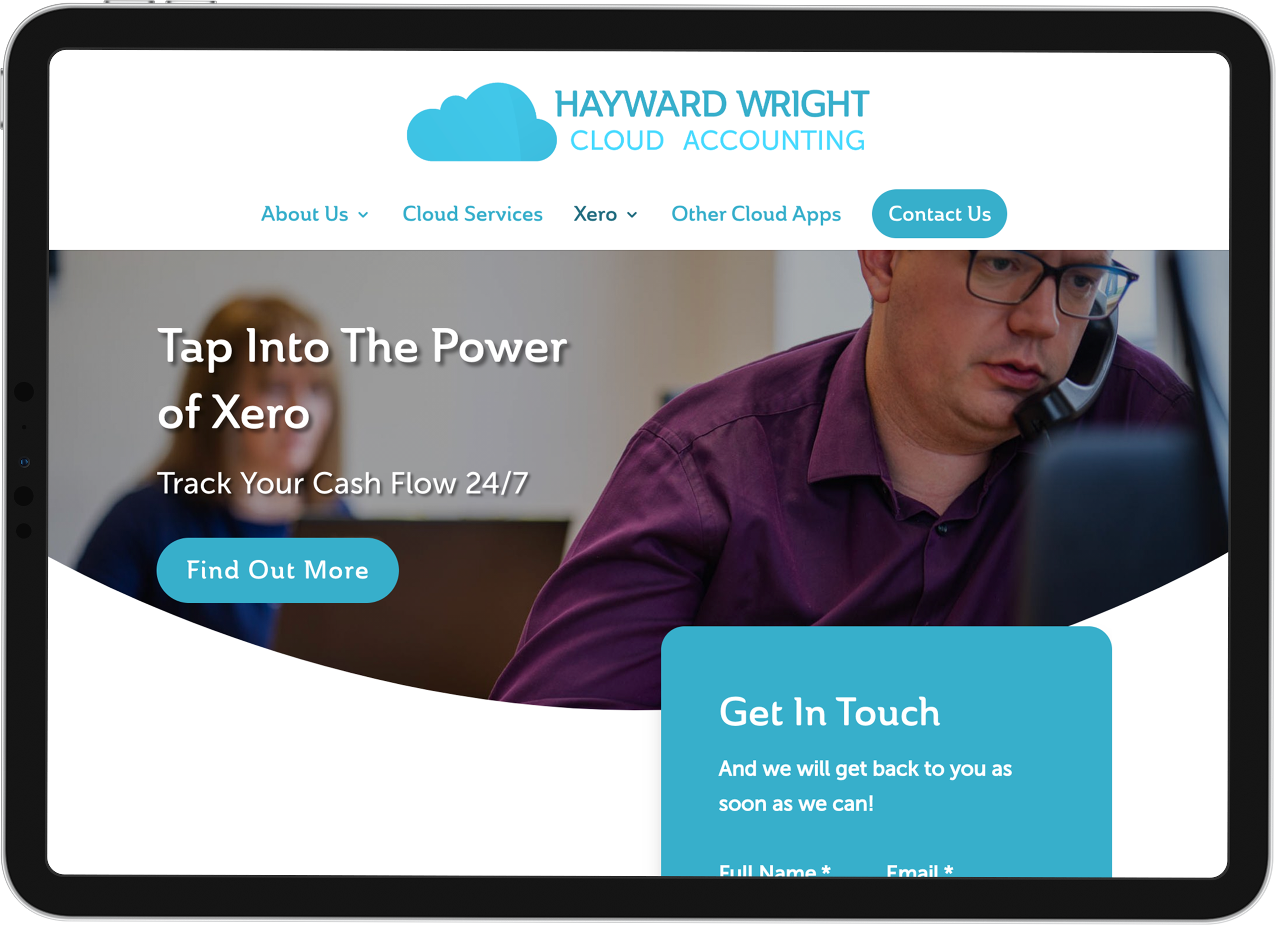 hayward wright cloud accounting business branding website on ipad showing xero page
