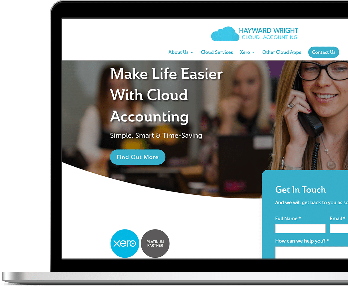 hayward wright cloud accounting business branding website on laptop showing home page