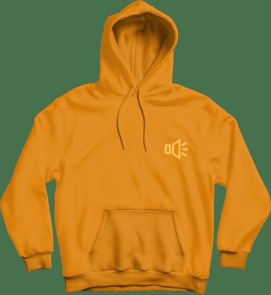 insert audio yellow hoodie mockup