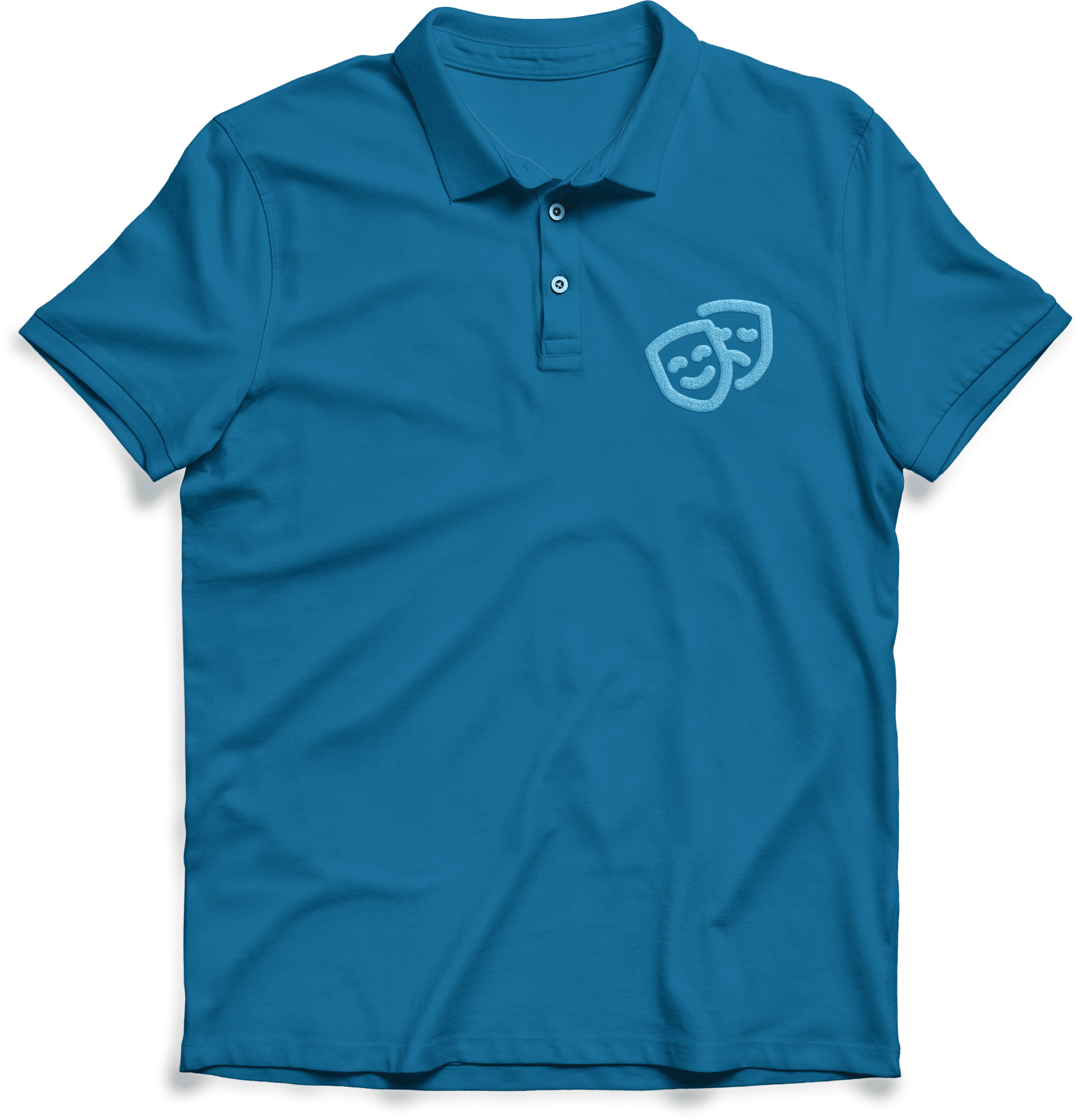 insert theatrical blue icon on blue polo top