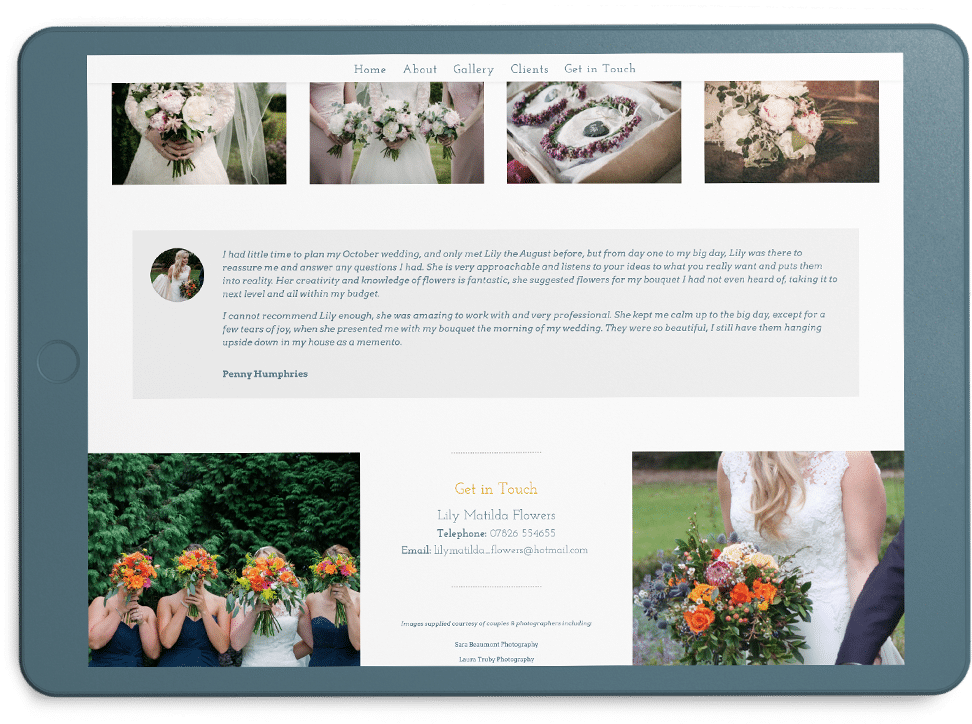 one page website Lily Matilda