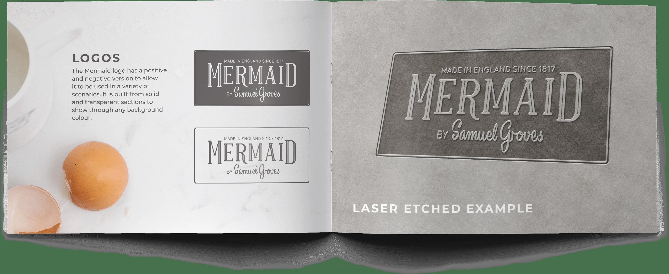 mermaid bakeware product packaging brand guidelines, logos page