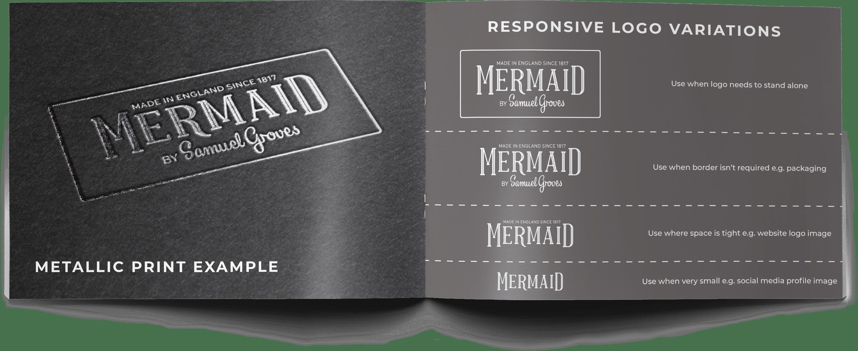 mermaid bakeware product packaging brand guidelines, logo variations pages
