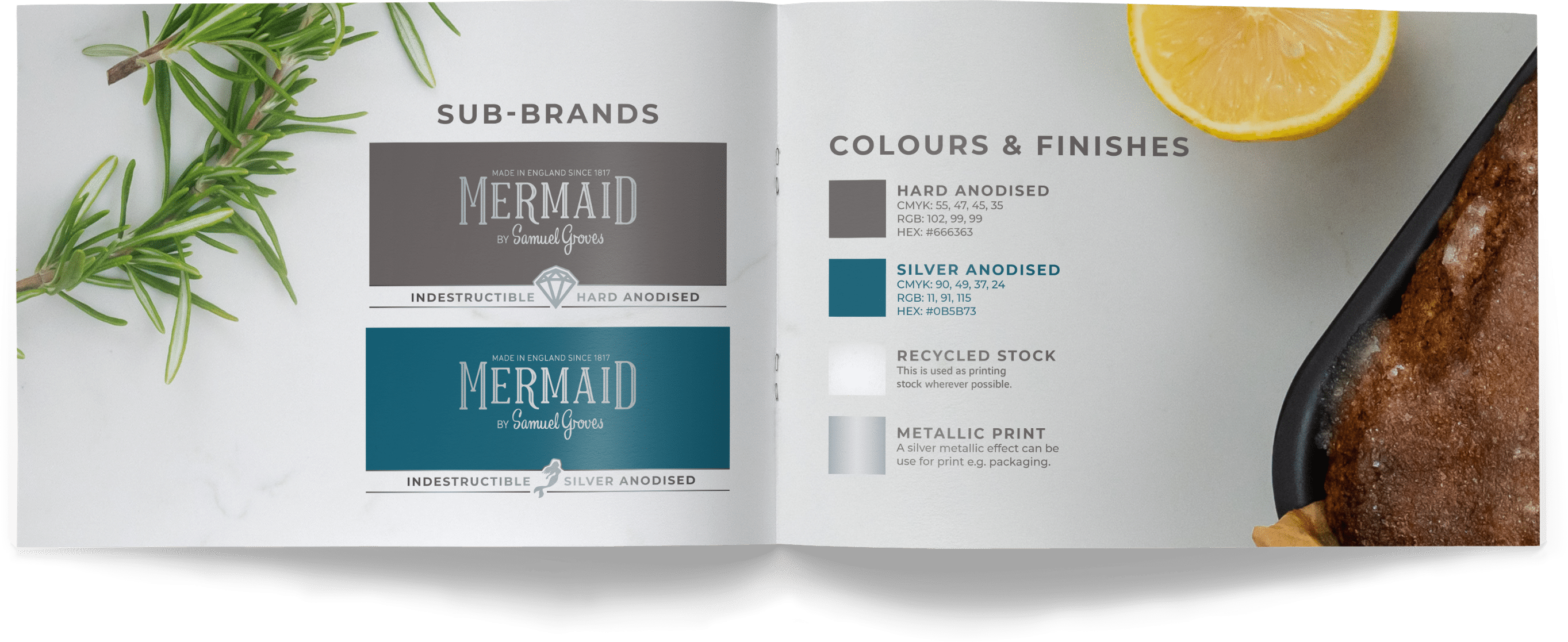 mermaid bakeware product packaging brand guidelines, sub brands pages
