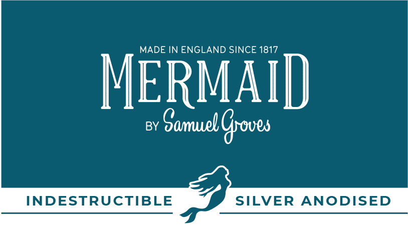 mermaid product packaging design blue silver anodised sub brand with mermaid icon
