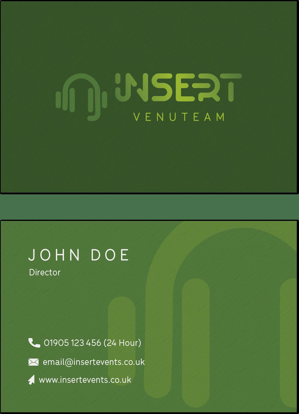 insert venuteam green business cards mockup