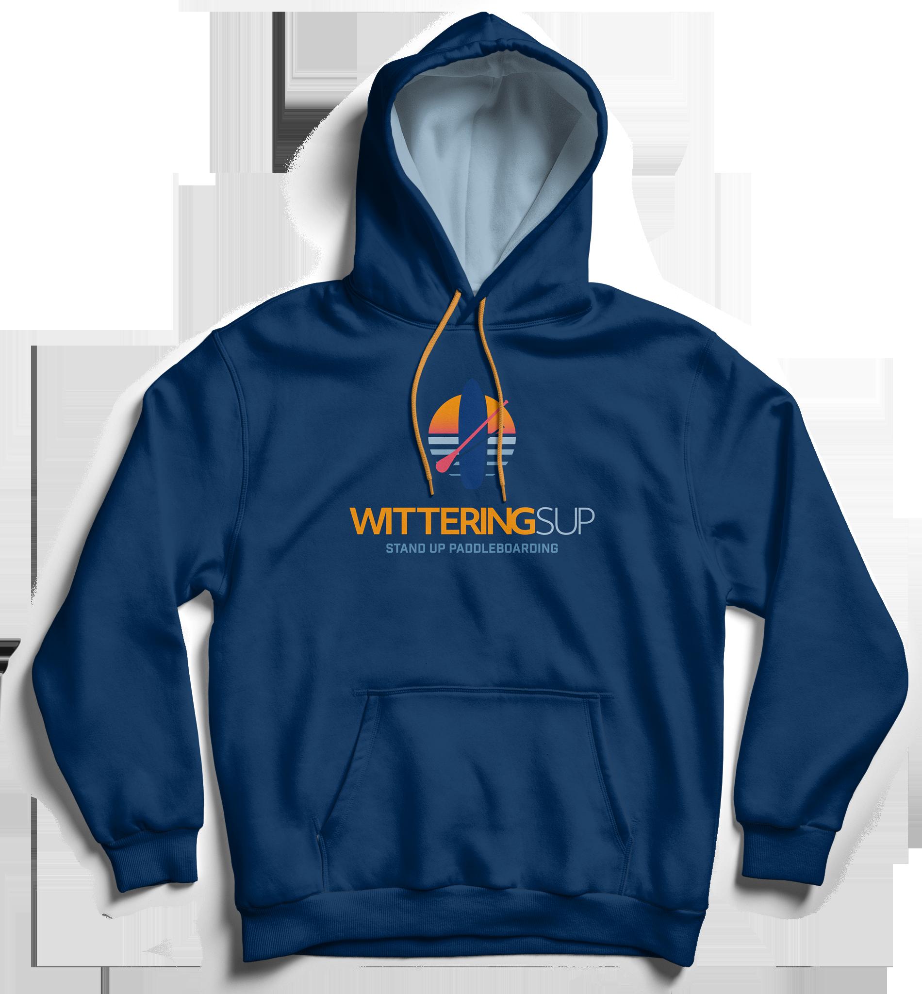 Wittering SUP branded merchandise dark blue hoodie with logo